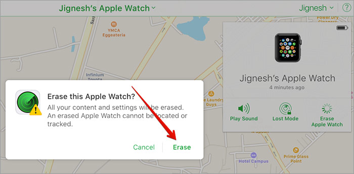 Click Erase to Confirm in iCloud Find iPhone