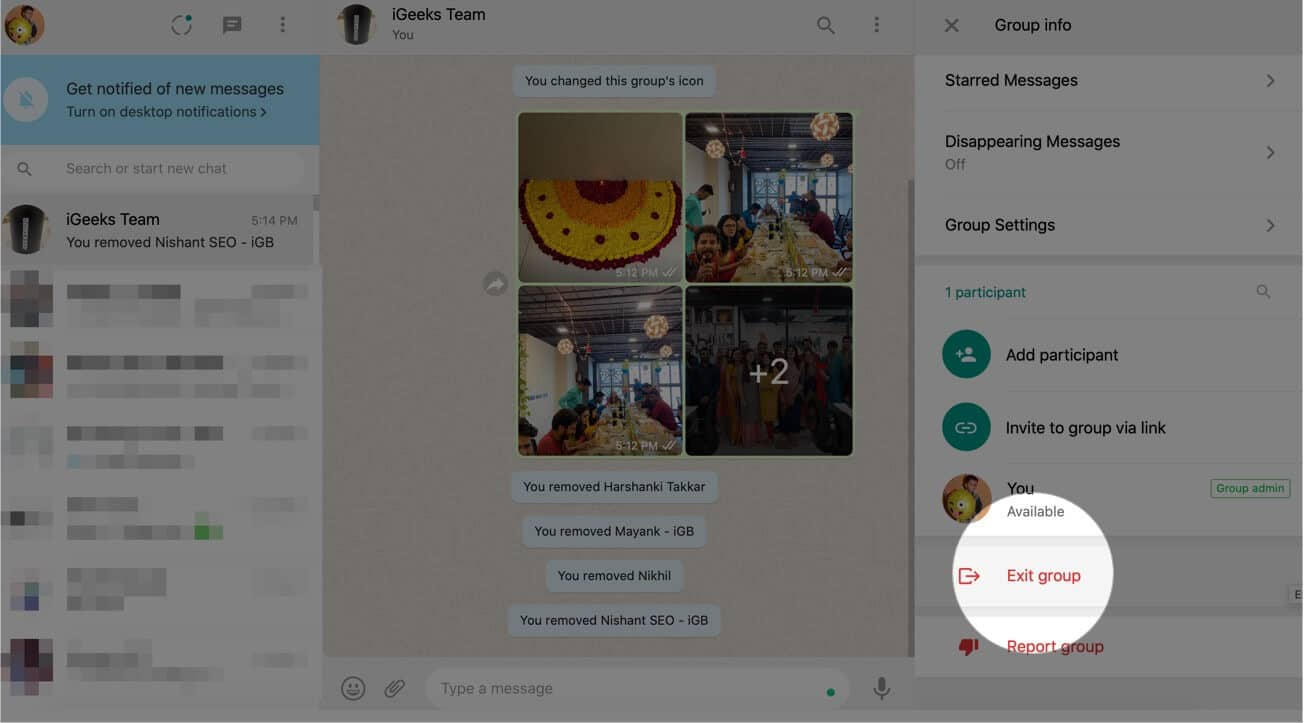 Click Exit Group in WhatsApp Web