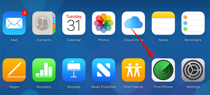 Click Find iPhone in iCloud Web
