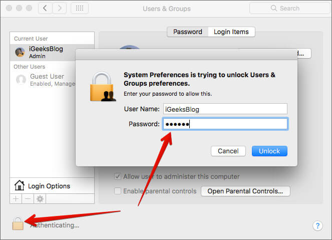 Click Lock icon and enter Administrator password in Mac Users & Groups