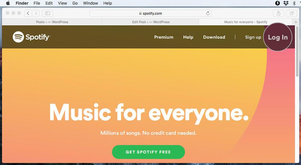 Click Login in Spotify Website on Mac
