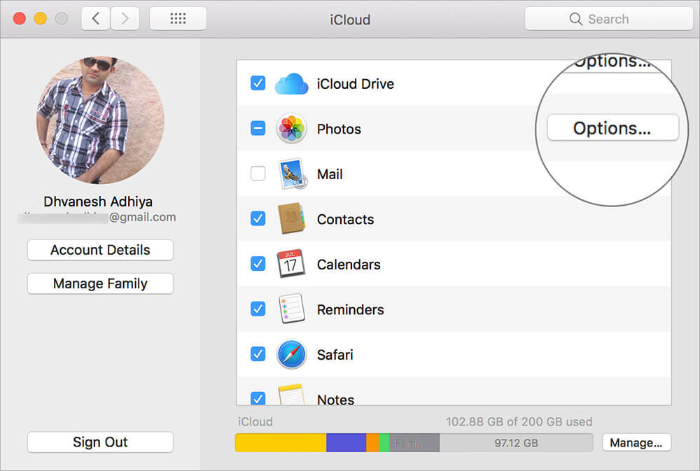 Click Options next to Photos in Mac iCloud Settings