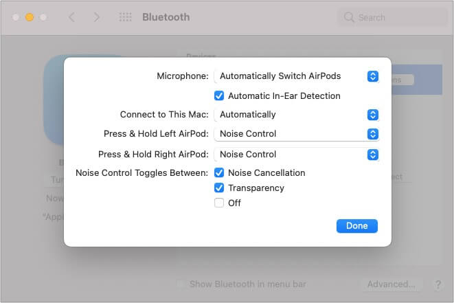 Click Options next to the AirPods name