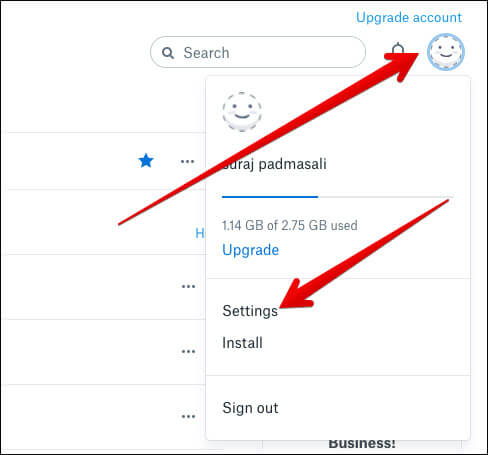 Click Profile and select Settings in Dropbox