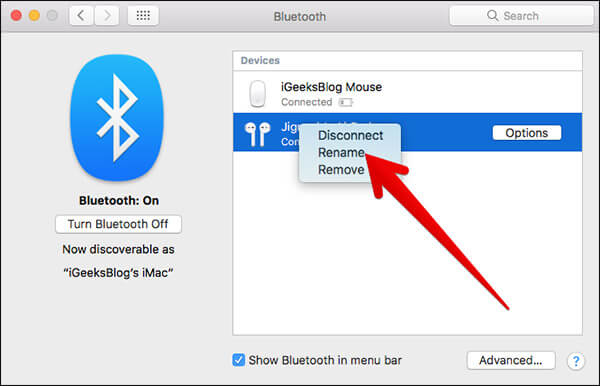 Click Rename in AirPods in Bluetooth on Mac