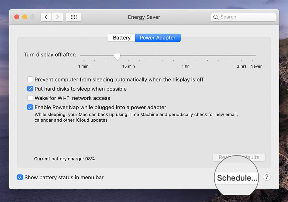 Click Schedule in Energy Saver Window on Mac