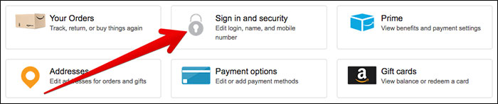 Click Sign in and Security on Amazon