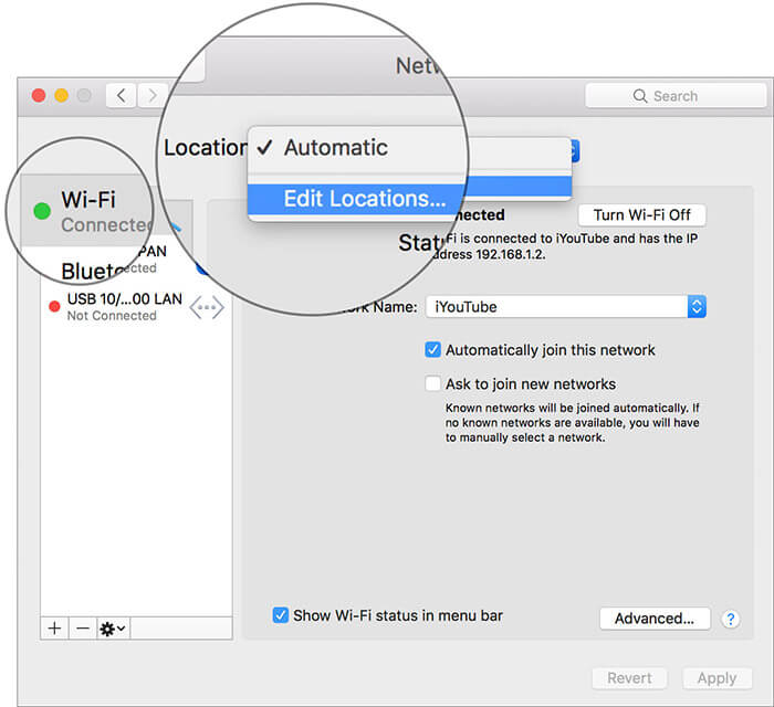Click WiFi and select Edit Locations in Mac Network Settings