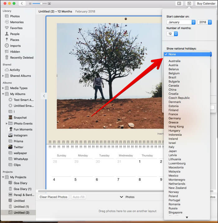 Click drop down menu and Select country on Mac Photos App