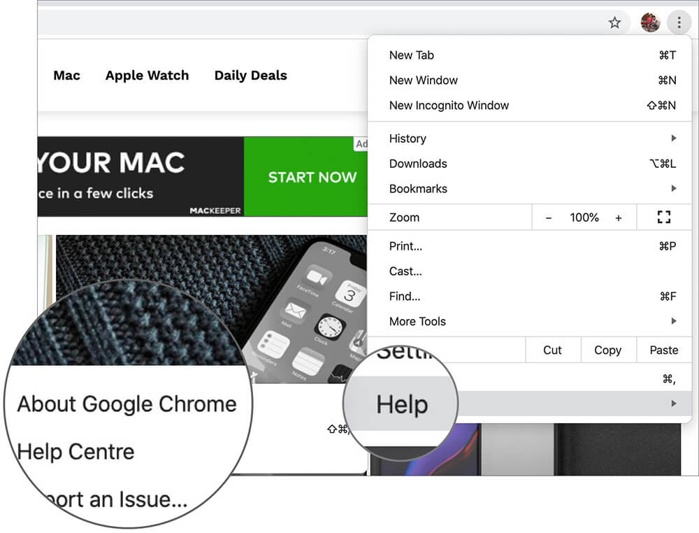 Click on About Google Chrome in macOS
