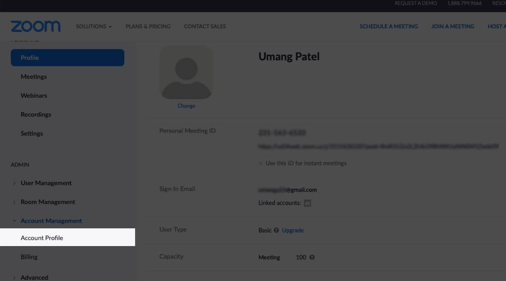 Click on Account Profile on Zoom on Mac
