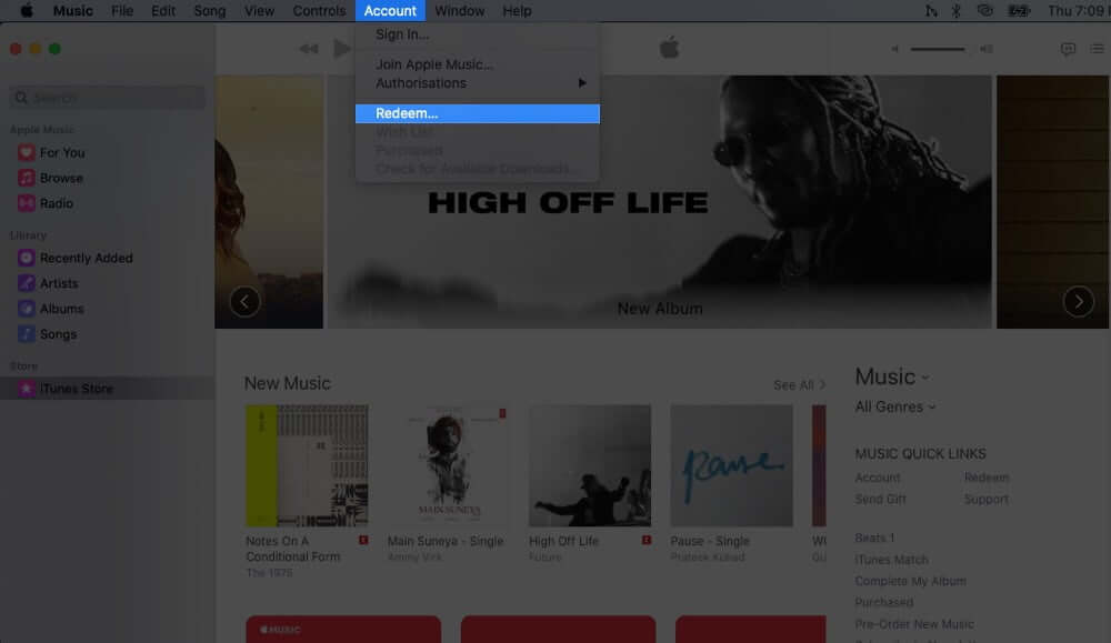 Click on Account from Music App Toolbar and Select Redeem on Mac