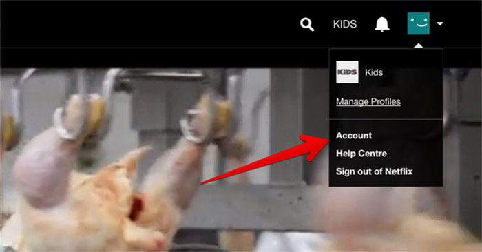 Click on Account in Netflix