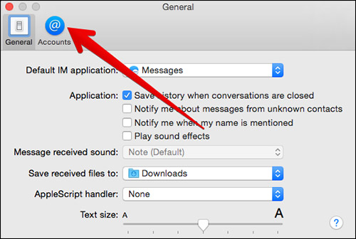 Click on Accounts in Message App Preferences on Mac