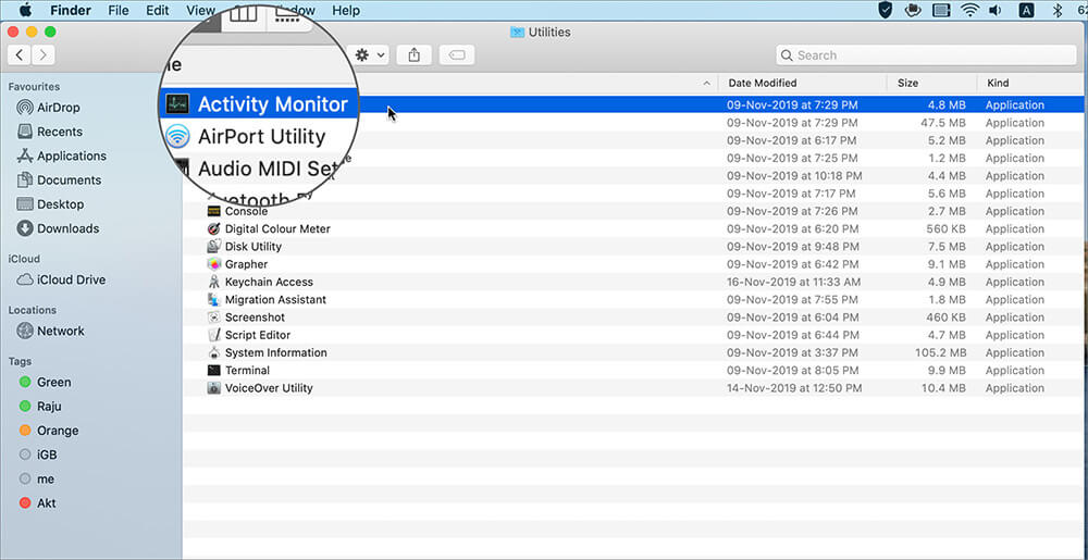 Click on Activity Monitor in Finder on Mac