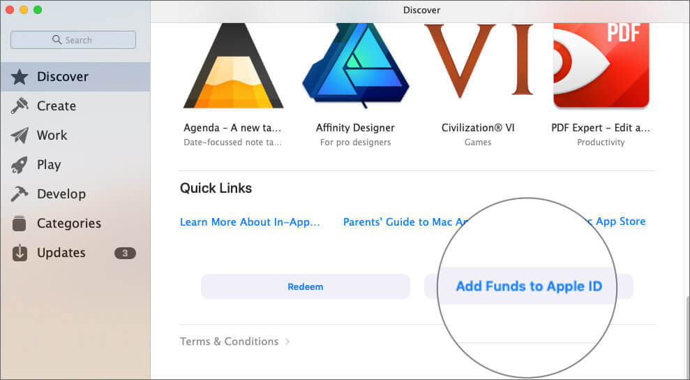 Click on Add Funds to Apple ID in Mac App Store