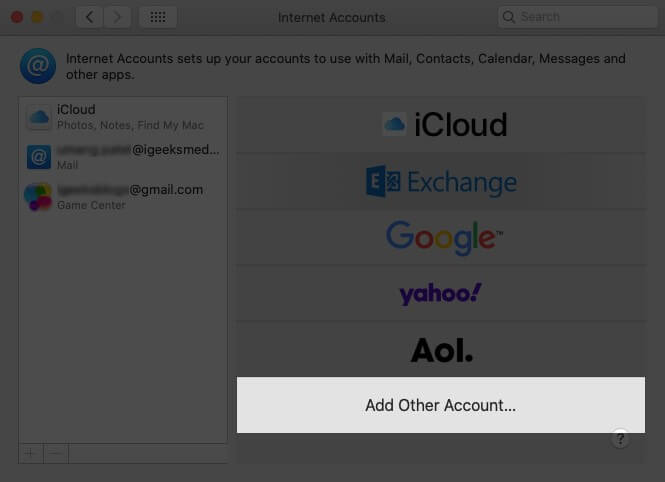Click on Add Other Account on Mac