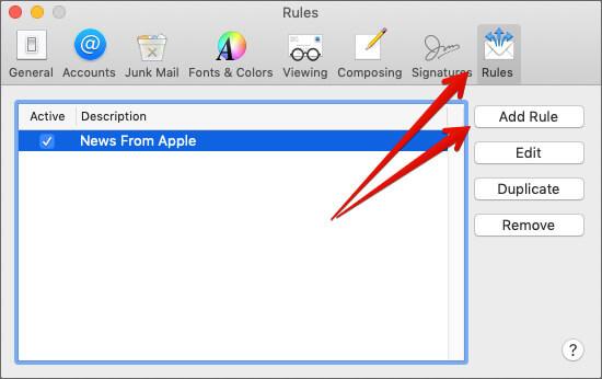 Click on Add Rule in Mac Mail app