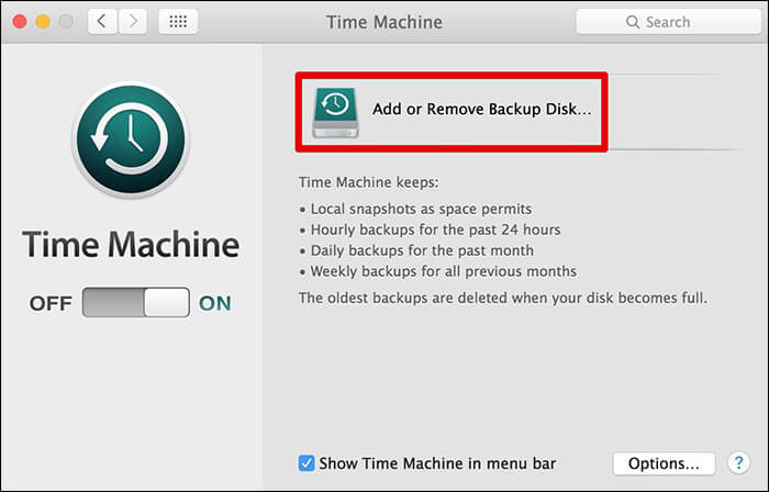 Click on Add or Remove Backup Disk on Mac