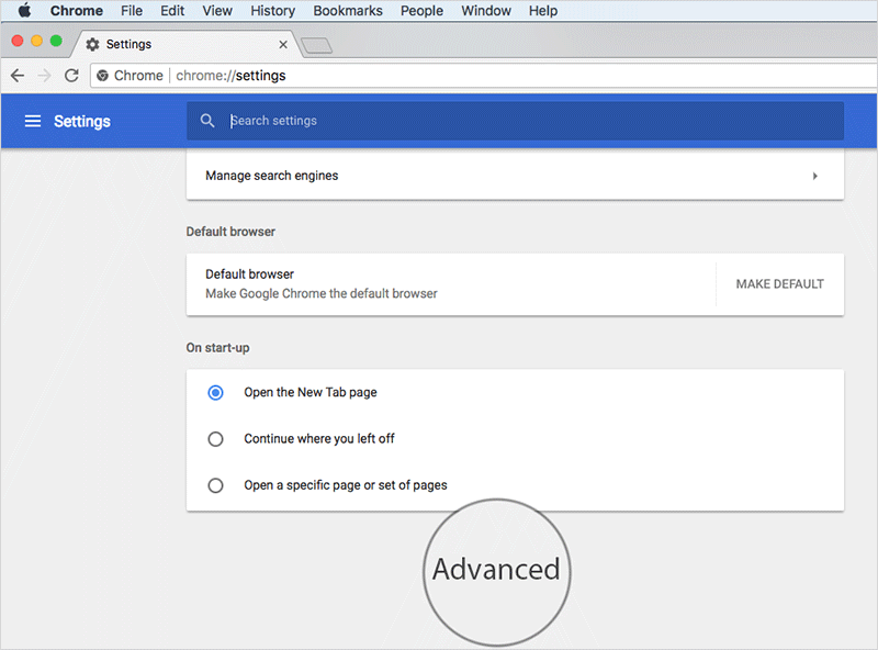 Click on Advanced in Chrome Settings on Mac or Windows PC