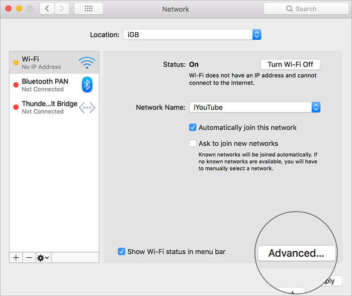 Click on Advanced in Mac Network Settings