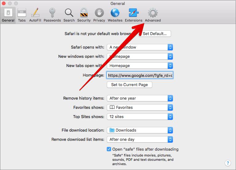 Click on Advanced in Safari Preferences on Mac