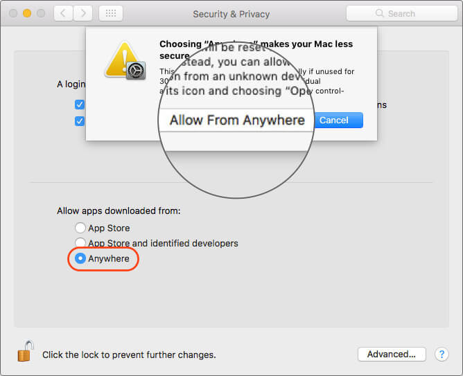Click on Allow From Anywhere to Open Unknown Apps in macOS Catalina