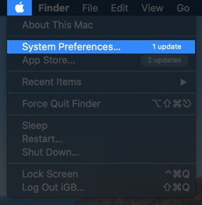 Click on Apple Menu and Select System Preferences on Mac