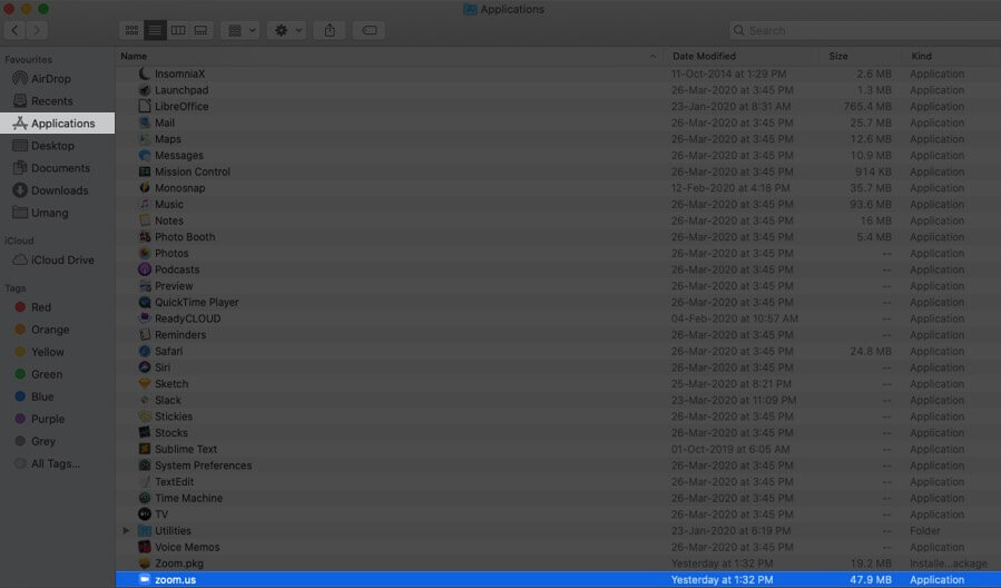 Click on Applications and Select Zoom on Mac