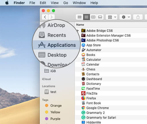 Click on Applications in macOS Finders App on Mac