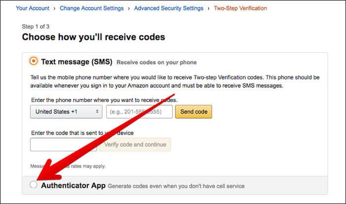 Click on Authenticator App in Amazon