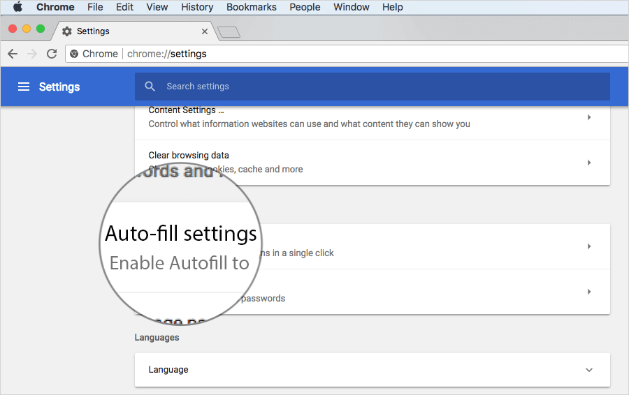Click on Auto-fill Settings in Chrome on Desktop