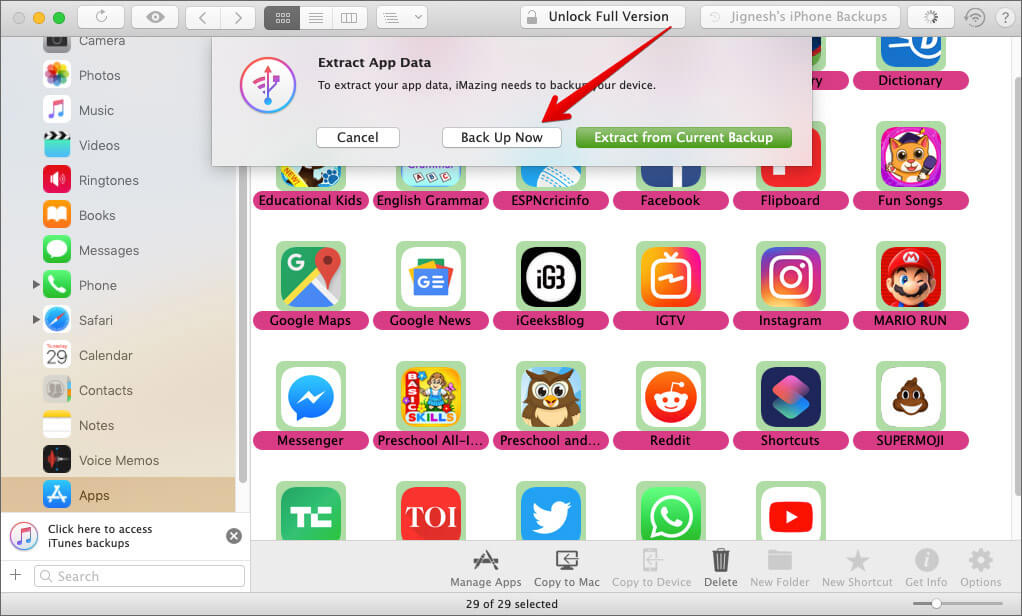 Click on Back Up Now to extract iPhone or iPad app data on Mac