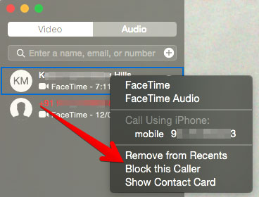 Click on Block This Caller in FaceTime App on Mac