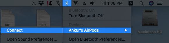 Click on Bluetooth and Then Click Connect on Mac