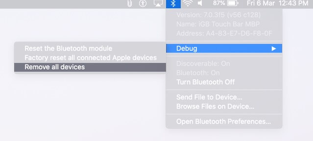 Click on Bluetooth from Menubar Select Debug and Click on Remove All Devices
