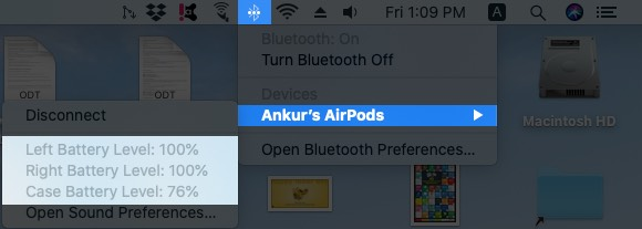 Click on Bluetooth icon and Mouse Over to Check AirPods Battery Life on Mac