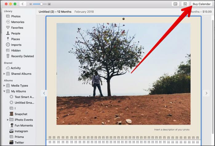 Click on Buy Calendar on Mac Photos App