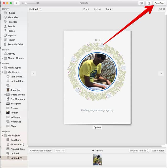 Click on Buy Card in Mac Photos App