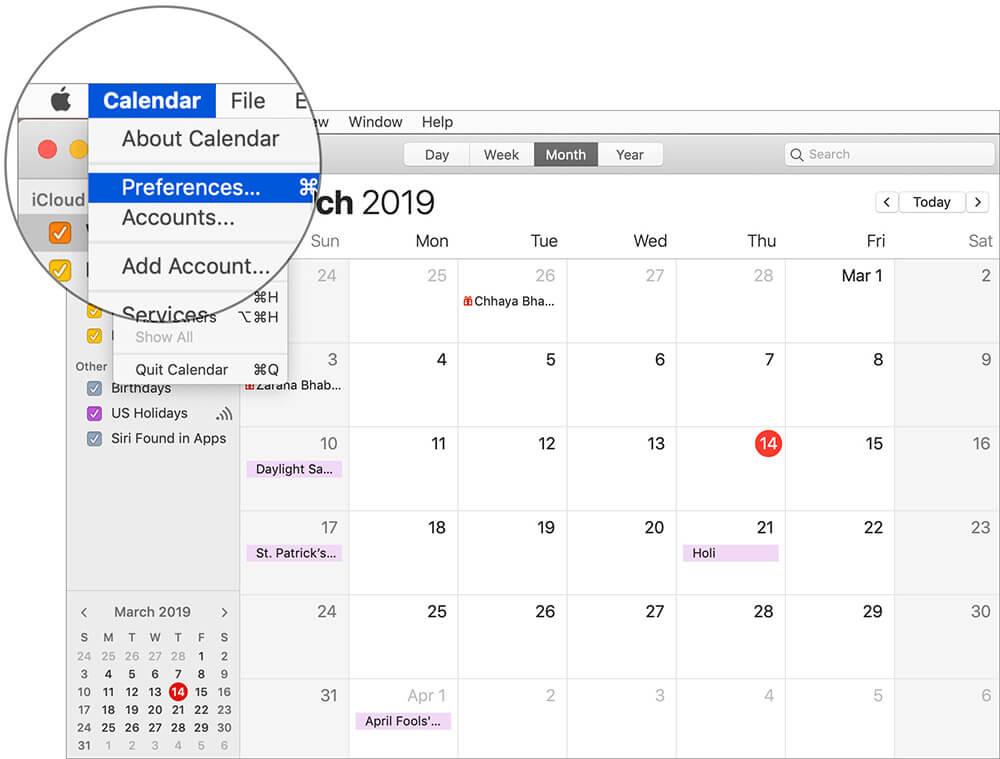Click on Calendar Menu and then Select Preferences in Mac Calendar App