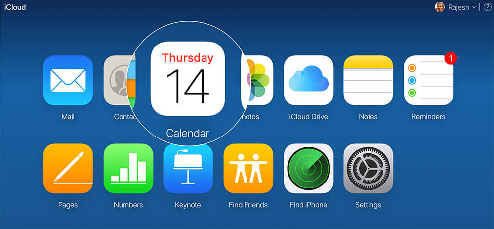 Click on Calendar icon in iCloud Web
