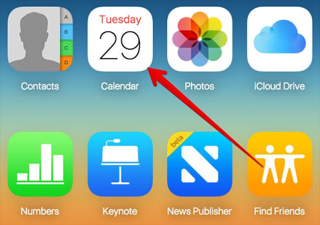 Click on Calendar in iCloud on Mac