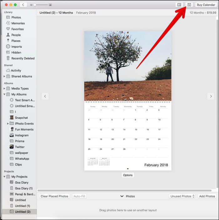 Click on Calendar settings button on Mac Photos App