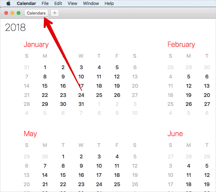 Click on Calendars in Calendar App on Mac