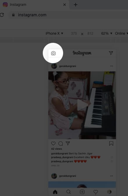 Click on Camera icon in Instagram on Mac