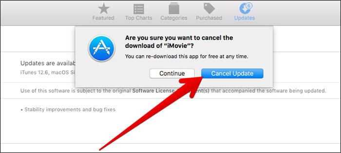 Click on Cancel Update in Mac App Store