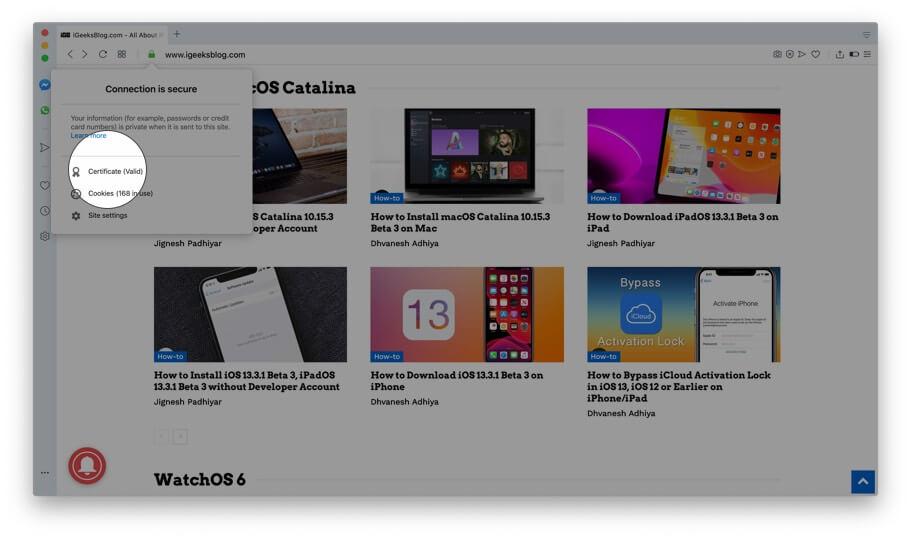 Click on Certificate in Opera on Mac