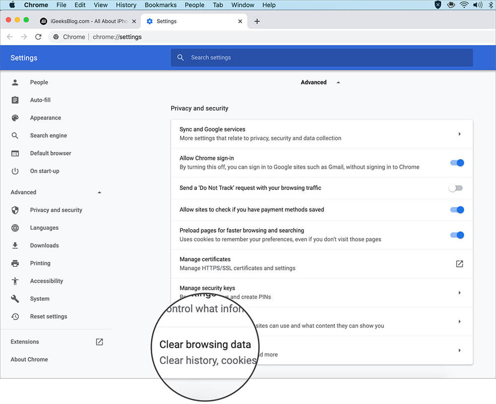 Click on Clear Browsing Data in Chrome Advance Settings on Mac