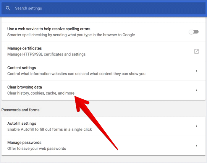 Click on Clear Browsing Data in Chrome on Mac or Windows PC