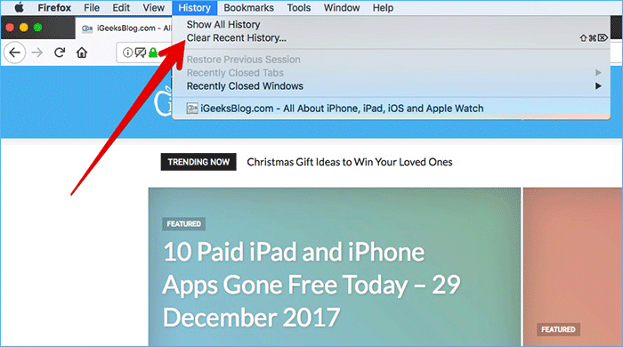 Click on Clear Recent History in Firefox on Mac or Windows PC